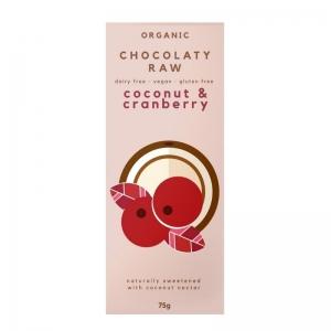 Chocolaty Raw - Coconut & Cranberry 75g x 12 (Carton)