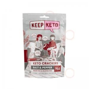Keep Keto - *NEW* Salt & Pepper Crackers 75g (D200)